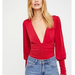Free People Deep V Red Ruched Bodysuit